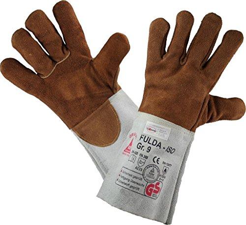 Gefütterter Schweißerhandschuhe FULDA - ISO - Arbeits-handschuhe - Sicherheitshandschuhe für Schweisser - Größen 8 bis 12, Grau / Braun, Größe 11 (XXL)