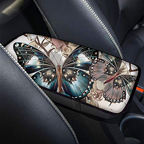 Salabomia Universal Center Console Cover for Most Vehicle, SUV, Truck, Car Armrest Cover with Butterfly Center Console Pad, Customized Car Accessories