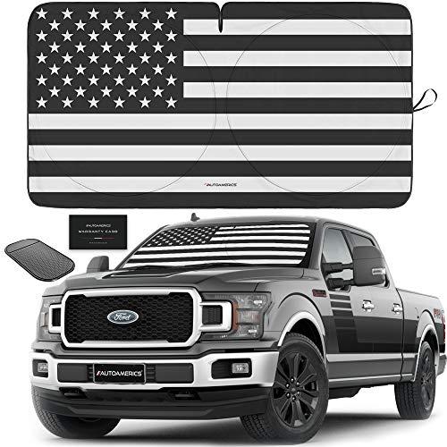 Autoamerics 1-Piece Windshield Sun Shade B&W American Flag USA Patriotic Design...