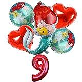 globo 6pcs / set sirena princesa globos globo de la hoja de dibujos animados de 32 pulgadas Número de Red fiesta de cumpleaños de la muchacha del impulso del aire Decoración Juguetes decoración