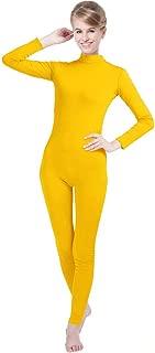Unisex Lycra Spandex Unitard Mock Neck Long Sleeves Footless Elastane Bodysuit Costume