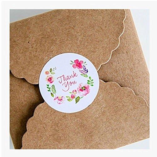 WFZ17,100 adesivi rotondi motivo floreale con scritta in inglese:'Thank You', per etichettare carta regalo e chiudere pacchi taglia unica Thank You Flower
