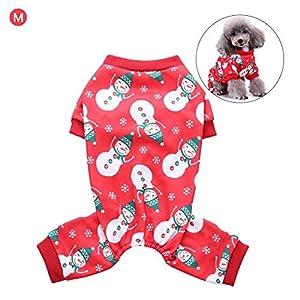 Chen0-super pour Animal Domestique Chien Vêtements Pyjama Combinaison Pyjama Pyjama de Noël avec Bonhomme de Neige à 4Pattes Pyjama Cadeau de fête pour S/M/L/XL