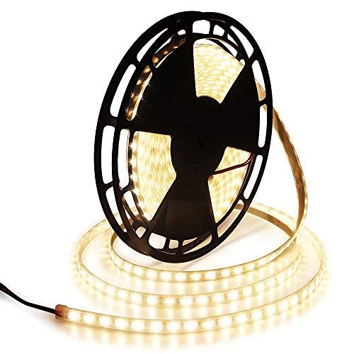 ALITOVE 32.8ft Warm White LED Strip Lights Waterproof IP67 10m 600 LEDs 5050 SMD 24V DC 3200K Outdoor LED Flexible Tape for Kitchen Bedroom Garden Under-cabinet Backyard Hallways Stairs Decor Lighting