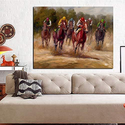 Wfmhra Pintura al óleo de Caballo de Carreras de Animales de impresión HD sobre Lienzo Pared de Arte Pop Moderno Abstracto para decoración de sofá de Sala de Estar 50x70cm sin Marco