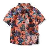 Boy's Classic Hibiscus Hawaiian Aloha Shirt Red Print Beach T-Shirts (Orange, 0-6 months/70)