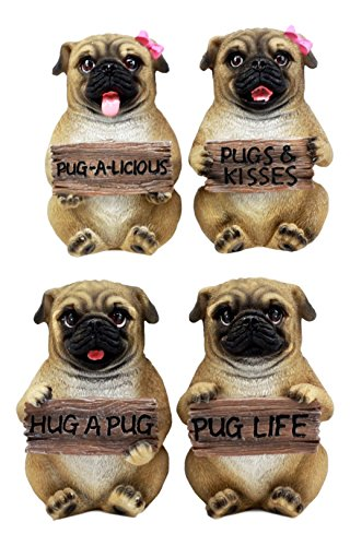 "Ebros The Pug Life Adorable Chubby Pugs Holding Signs Figurine Set 4"" H Sitting Fawn Pugs Couples Collectible Sculptures"