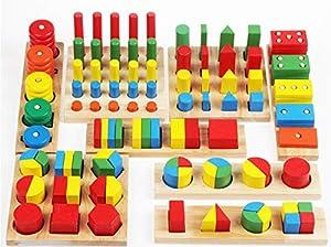 Ultimatives Holz Lernspielzeug zum Sortieren und Stapeln - Das Holzspielzeug-Set mit geometrischen Formen beinhaltet 8 verschiedene Spielsätze der beliebtesten Lernspielzeuge, darunter das Sortieren und Stapeln von geometrischen Formen, Stapeln von R...