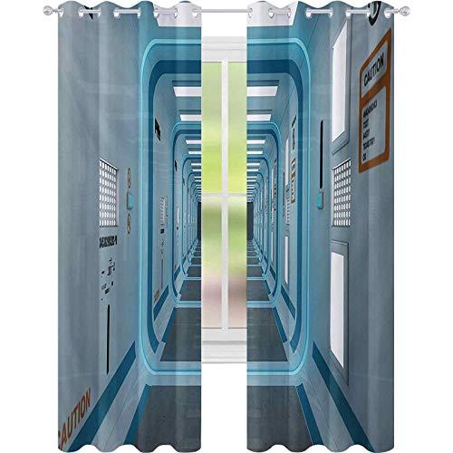 Cortinas para dormitorio, pasillo galáctico con señales de precaución Discovery Explore Invasion Print Artwork, W52 x L108 cortinas térmicas para cocina, azul y blanco