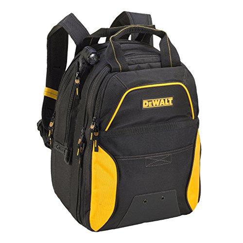Custom Leathercraft DEWALT DGCL33 33-Pocket Lighted USB Charging Tool Backpack, Yellow