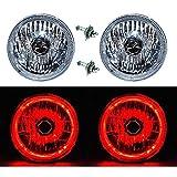 OCTANE LIGHTING 7' Halogen H4 12V Headlight Headlamp Red Led Halo Angel Eyes Light Bulbs Pair