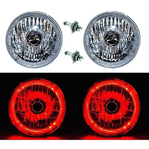 """OCTANE LIGHTING 7"""" Halogen H4 12V Headlight Headlamp Red Led Halo Angel Eyes Light Bulbs Pair"""