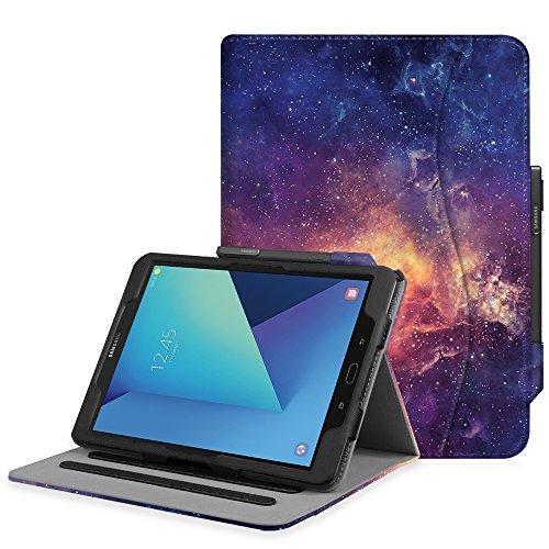 Fintie Hülle für Samsung Galaxy Tab S3 T820 / T825 (9,68 Zoll) Tablet - Multi-Winkel Betrachtung Kunstleder Schutzhülle Hülle mit Dokumentschlitze & Auto Schlaf/Wach Funktion, Die Galaxie