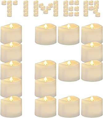 AMAGIC Timed Tea Lights with Long-Lasting Batteries, Flameless Flickering LED Tea Light Candles for Home Decor, Auto On and O