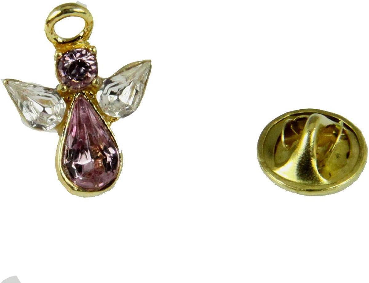 6030618 October Crystal Birth Month Angel Pin Guardian Lapel Brooch Tie Tack