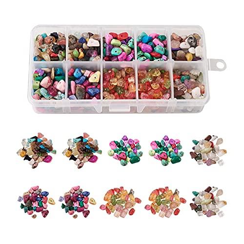 PandaHall 1940 ~ 2100 cuentas de piedras preciosas naturales y sintéticas, 10 estilos, coloridos chips irregulares, juego de cuentas para joyería collar y pulsera, mezcla fija