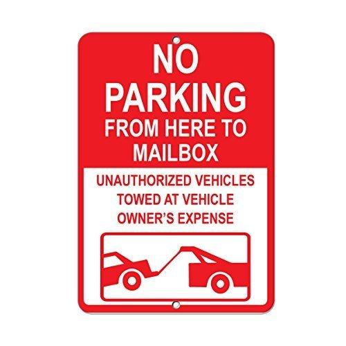 Geen parkeerplaats niet blokkeren brievenbus ongeautoriseerde voertuigen getrokken aluminium METAL teken 9 in x 12 in