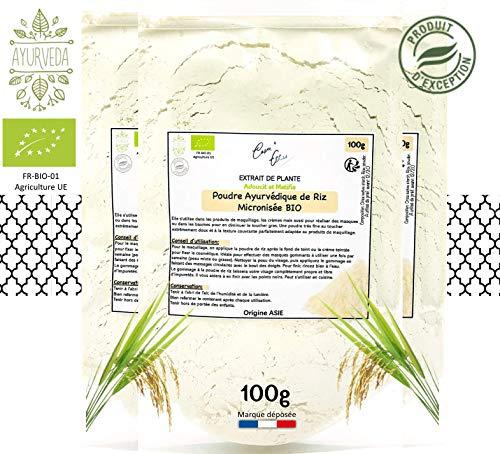 ⭐️ Cosm'Ethics® Ayurvedisches Reispulver, 100 g, hochwertig, Basis für Kosmetika, glutenfrei, mattiert die Haut, wiederverschließbarer Beutel für optimale Konservierung