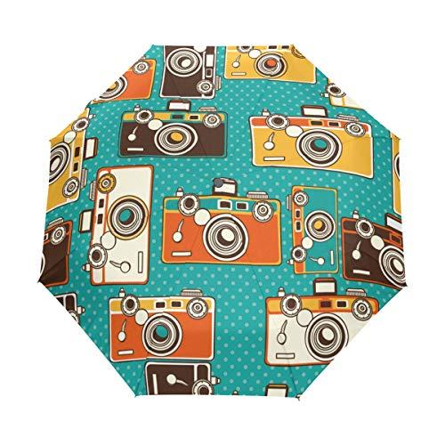 MyDaily Vintage Foto-Kameras, Reise-Regenschirm, automatisches Öffnen/Schließen, leicht, kompakt, Winddicht