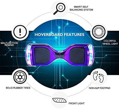 """Wind Way Hoverboard 6,5"""" - Moteur 700W - Parleur Bluetooth - Self Balancing Scooter Tout Terrain Adulte - Skateboard Roues LED - Gyropode Meilleur Qualité - Enfant SmartBoard Pas Cher - Violet Chromé"""