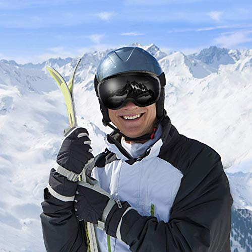 スキーゴーグル曇り止めUVカットメガネ対応スノーゴーグルスノーボードゴーグル男女兼用球面レンズ防風/防雪/防塵山登り/スキーなど用ブラックYS02-Black