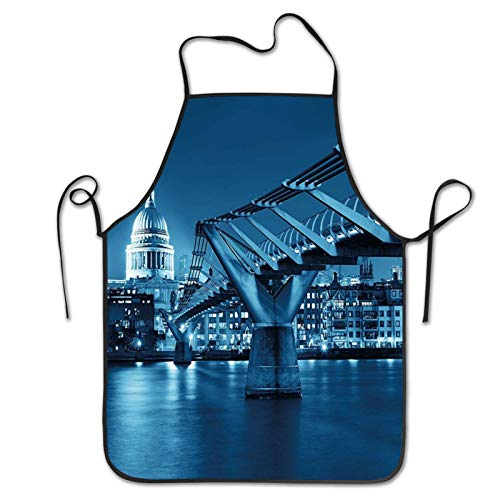 xmy Cityscape Millennium Bridge And St Pauls Cathedral At Night in London Monument Town Scenery Dark Blue Apron,Barbecue Aprons,Kitchen Apron