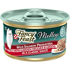 Twenty-Four (24) 3 Oz. Can - Purina Fancy Feast Medleys Wild Salmon Primavera With Garden Veggies & Greens Adult Wet Cat Food Tender Wild Salmon Adds Delicious Flavor Accents Of Garden Veggies Add An Artful Touch The Delicate Sauce She Loves 100% Com...