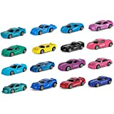 Hautton Die-Cast Race Car Set, 16-Pack Mini Multicolor Alloy Metal Toy Cars, Great Birthday Gift Party Favor for Age 3+ Boys Girls Kids -Modern