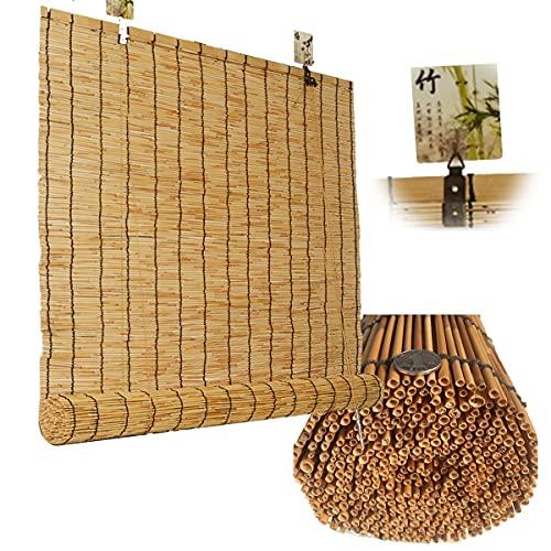 ASDFGHJ Persianas de Caña Opacas 70%, Cortina de Caña para Exteriores Tejida a Mano, Estor de Bambú Personalizable, con Dispositivo de Elevación 120 cm X 120 cm (47'W X 47' L)