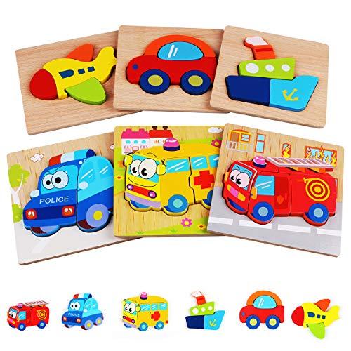 6 Piezas Puzzles de Madera de Vehículo Educativos para Bebé Rompecabezas de Formas Juguetes