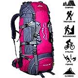 80L Ligero Mochila De Trekking,Gran Capacidad Mochila De Camping Al Aire Libre,Impermeable Mochila De Viaje De Senderismo,Para Viajes Al Aire Libre / Senderismo / Escalada,80*38*25cm,Rosado