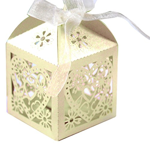 10pcs/set Boîtes à bonbons ciselés de cœur d'amour pour la marriage Beige