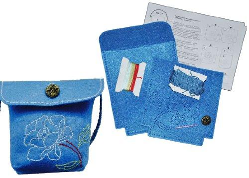 alles-meine.de GmbH Bastelset: für Filztasche -  Blumen & Blüten - blau  - zum Sticken, Nähen per Hand - Tragetasche Oliv grün - Tasche mit Blumen Blüten bunt Handarbeiten Filz..