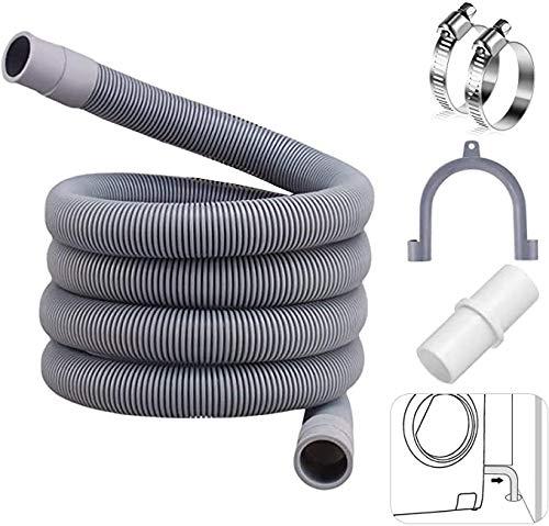 Extensión de manguera de drenaje para lavadora, 2 m, manguera de desagüe, incluye soporte y abrazaderas, para manguera de alimentación para lavadora y lavavajillas, manguera de drenaje de agua