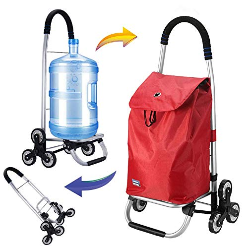 BCX Stair Climbing Shopping Trolley on 6 Wheels Folding Shopping Cart with Lid and Zip Pocket,40L Capacity Waterproof,Light, Strong & Stable Mobility Aid for Shopping,Blue,Red