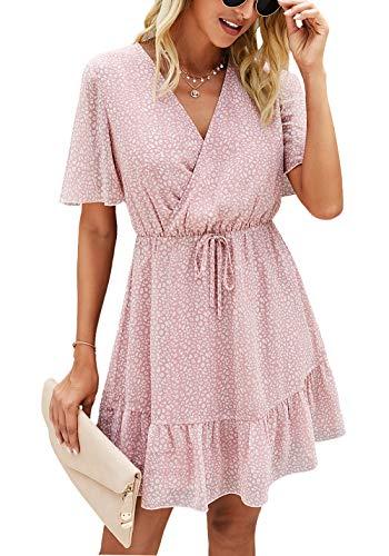 KIRUNDO 2021 Women's Summer Short Sleeve Ruffle Floral Dress V Neck High Waist Layer Short Mini Dress with Belt (X-Large, Pink)