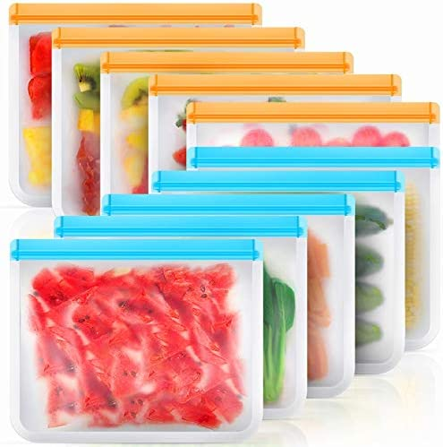 Reusable Storage Bags 10 Pack BPA Free Reusable Freezer Bags Large Silicone Food Bags Reusable product image