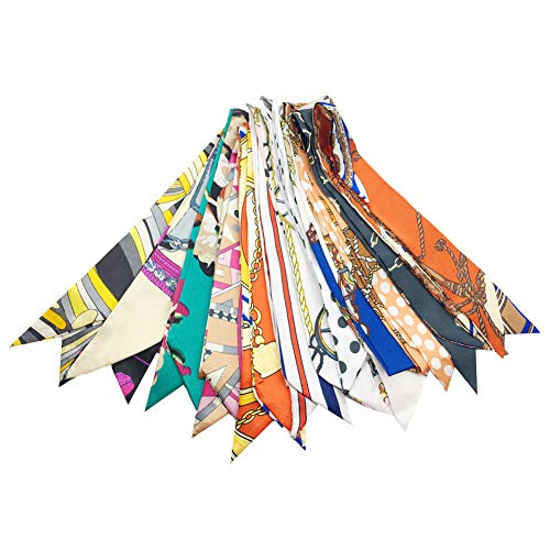 Multi Packs Narrow Handbag Handle Wrap Skinny Ribbon Neckerchief Scarf for Women (12 Packs Mix)