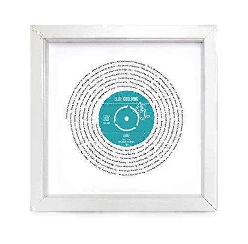 Ellie Goulding, Armee, Vinyl Record Print   personalisierbar Lied   Vinyl Record Lied Words Print   23x 23cm Box weiß Rahmen