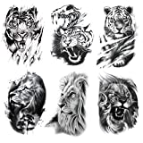 Kotbs 6 Sheets Cool Lion Tiger Temporary Tattoos, Tribal Lion King Tattoo Stickers for Men Kids Adults, Waterproof Fake Tattoos for Women Body Art Real Large Tatoos Temporary Paper Set Animals