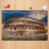 Alfombra de baño Antideslizante,Decoración Italiana, Vista del Coliseo bajo la Puesta de Sol de otoño en Roma Hito Italiano Impre Apto para Cocina, salón, Ducha (50x80 cm)