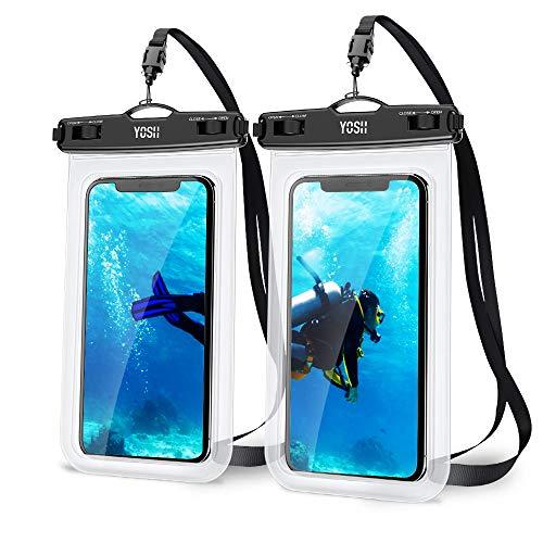 YOSH Funda Impermeable Móvil Universal 2 Unidades, IPX8 Bolsa Impermeable Móvil Funda Sumergible para iPhone 11 X XiaoMi RedMi Note 8 Huawei P30 Samsung BQ Aquaris y Otros Móviles hasta 7 Pulgadas