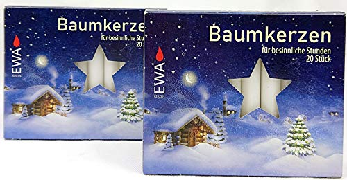 OLShop AG 2er Pack Baumkerzen weiß ca. 13 x 105 mm (2 x 20 Stück) Weihnachtskerzen, Christbaumkerzen, Pyramidenkerzen