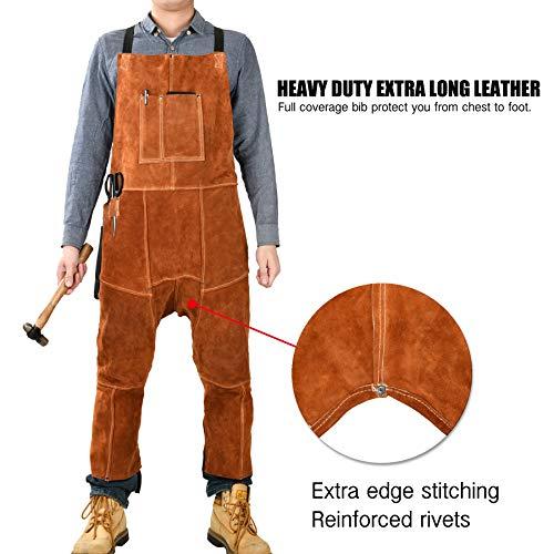 Leather Welding Apron Split Leg for Men - Spark   Flame   Heat Resistant Bib Apron by QeeLink - Heavy Duty Cowhide Leather