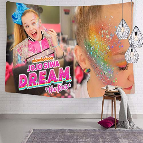 TWHDMMH745 JoJo Siwa Tapestry 3D Printing Home Decorations for Living Room Bedroom Dorm Wall Hanging Decor 51.2 x 59.1 Inch