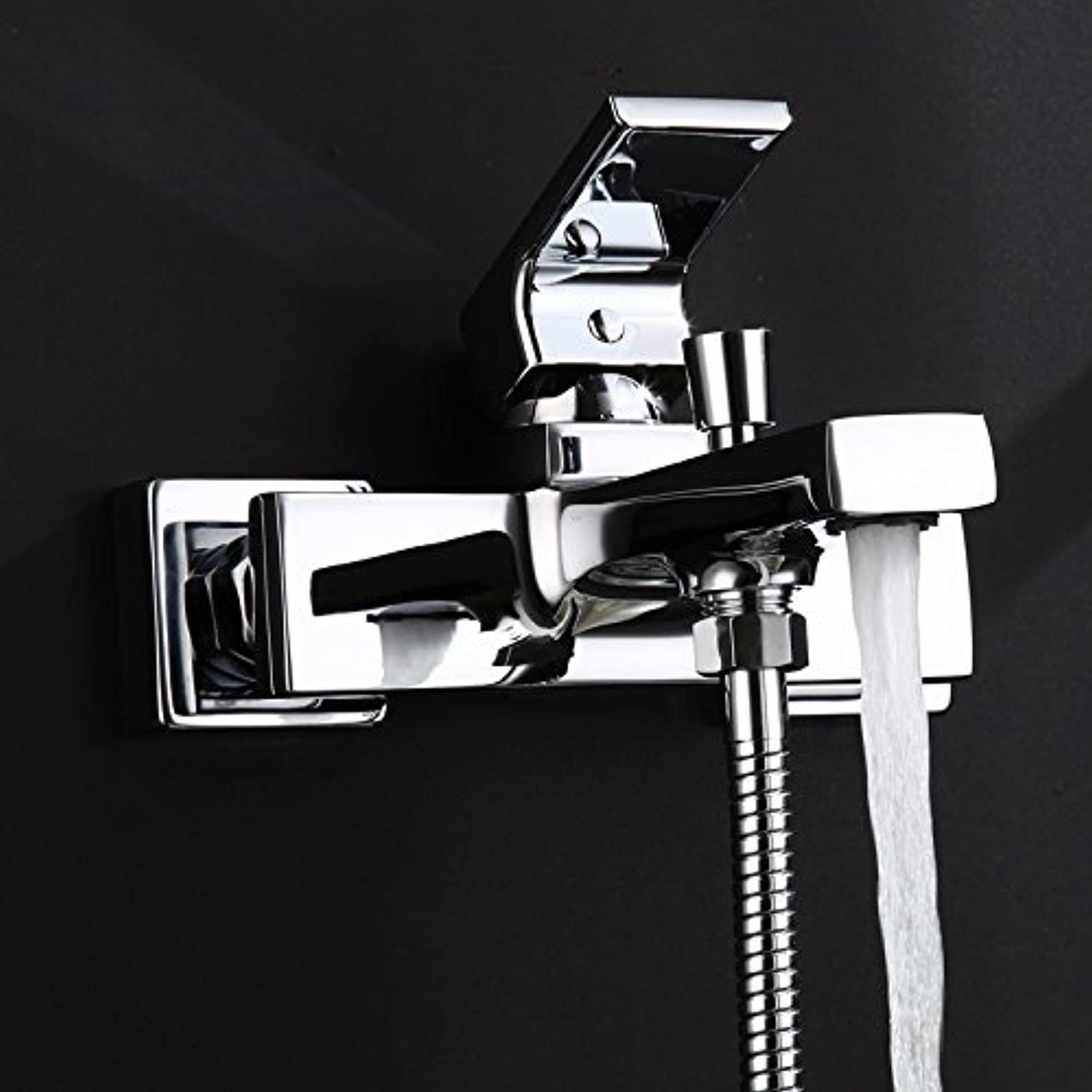 Damxied New Copper Square Hot And Cold Bathtub Faucet With Lifting Rod Bathtub Shower Set,D313-1 (Dan Longtou)Quality Assurance Of Modern And Simple Classic Retro Luxury Home Decoration