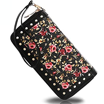 K A Bohemian Large Capacity Clutch Wallet for Women, RFID Blocking Credit Card Holder Double Zip-Around Purse with Wristlet