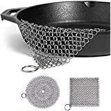 Otooking Stainless Steel Cast Iron Cleaner, 2 Packs 316L Chainmail Scrubber for Cast Iron Pan Pre-Seasoned Pan Pot Dutch Ovens Waffle Iron Pans Scraper Grill Cast Iron Skillet Scraper