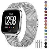 Fitlink Metal Bands Compatible for Fitbit Versa/Versa Lite Edition/Versa 2 Smart Watch for Women and Men,Small and Large, Multi-Color (Silver, Small)