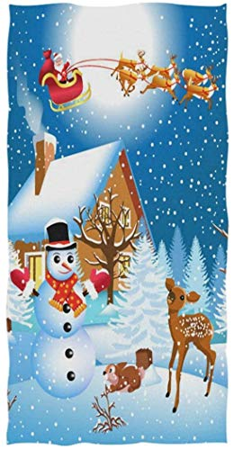 MSJXNF Christmas Scene Santa Flying by Reindeer Snowman House Print Soft Bath Towel Highly Absorbent Guest Towels Multipurpose for Bathroom, Hotel, Gym and Spa (16' x 30')